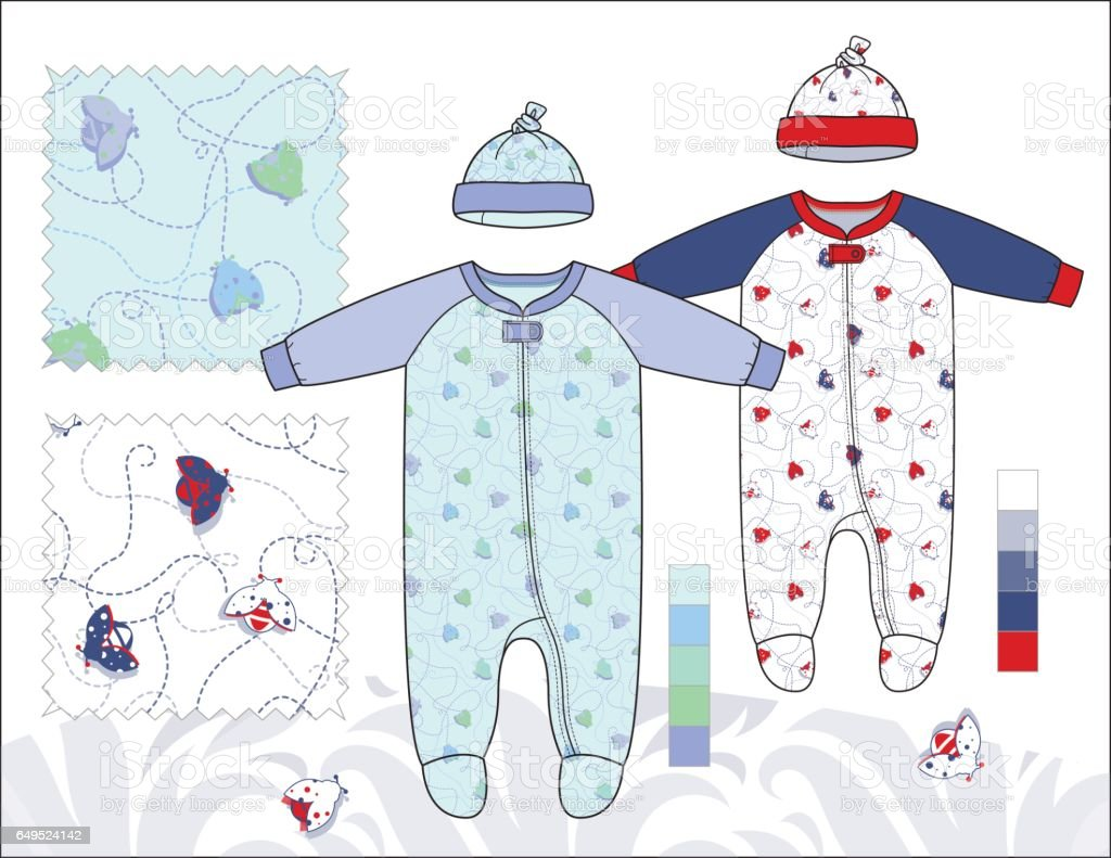 Infant_Unisex_Coveralls_with_Hats_illustration_Bug_Trail vector art illustration