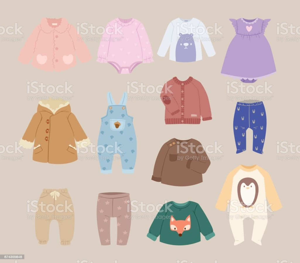 Infants baby child clothes vector royalty-free infants baby child clothes vector stock illustration - download image now