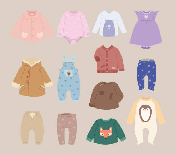 Infants baby child clothes vector Infants baby accessories child clothes vector. Baby clothes modern shirt collection on white background. Infants wear garment design child clothes fashion cotton. baby clothing stock illustrations