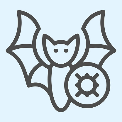 Infected bat line icon. Germ, pathogenic bacteria or virus of bat outline style pictogram on white background. Coronavirus transmission signs for mobile concept and web design. Vector graphics.