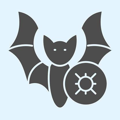 Infected bat solid icon. Germ, pathogenic bacteria or virus of bat glyph style pictogram on white background. Coronavirus transmission signs for mobile concept and web design. Vector graphics.