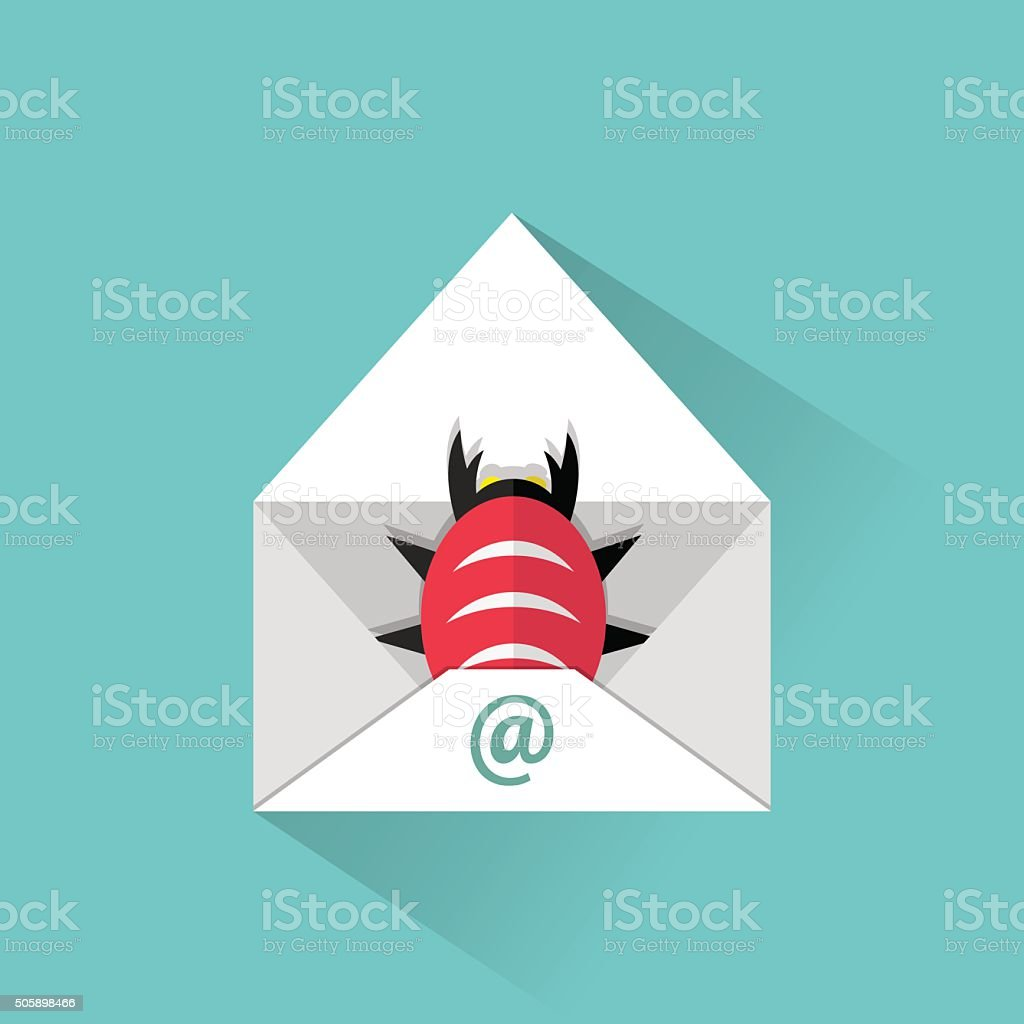 Infected email icon vector art illustration