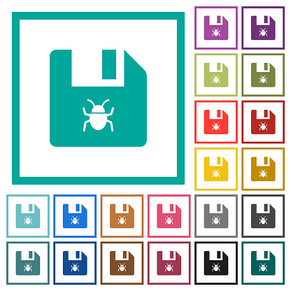 Infected file flat color icons with quadrant frames