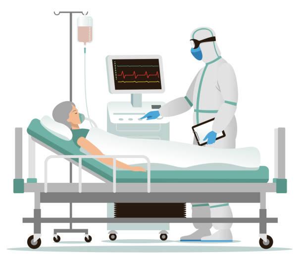 bildbanksillustrationer, clip art samt tecknat material och ikoner med smittad kvinna på sjukhus - sjukhusavdelning