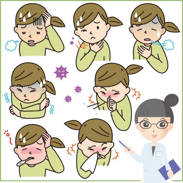 Infection symptoms set Set of infection symptoms such as influenza sore throat stock illustrations