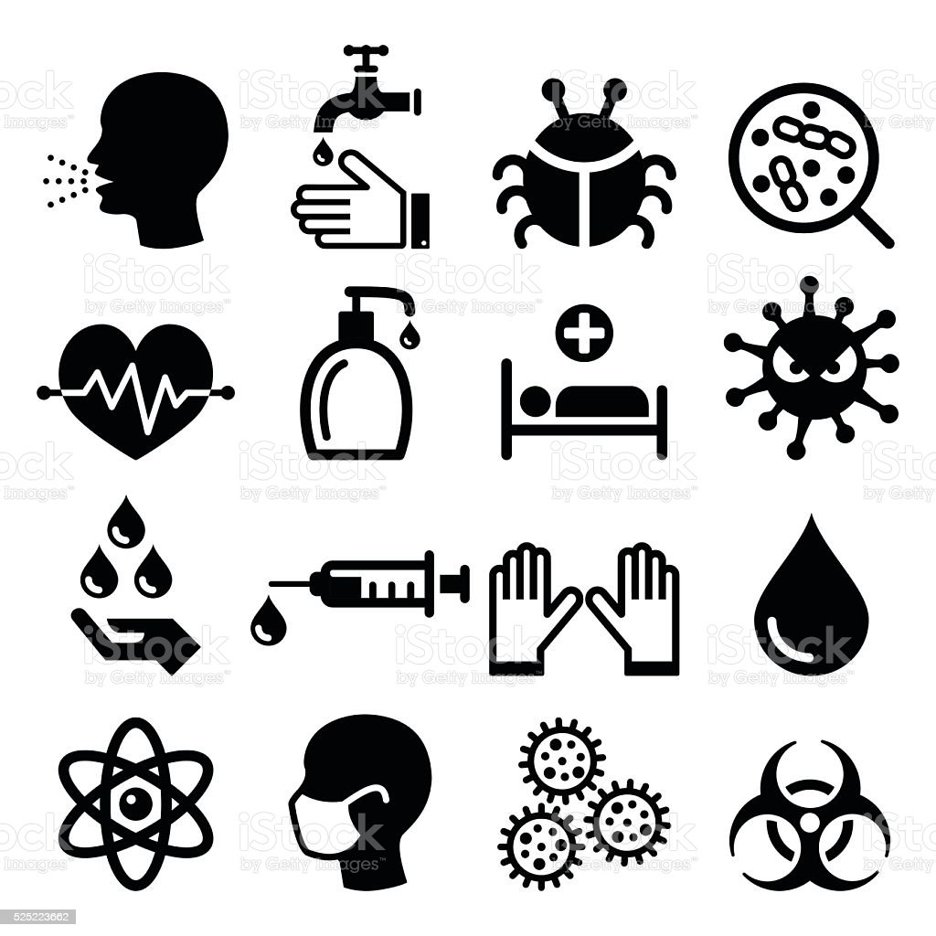 Infection, virus - health icons set vector art illustration