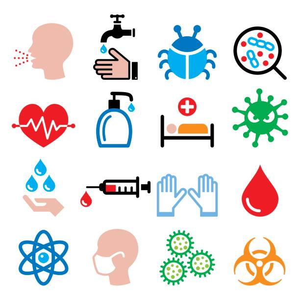 illustrazioni stock, clip art, cartoni animati e icone di tendenza di infection, virus, sickness, getting flu - health icons set - virus protection