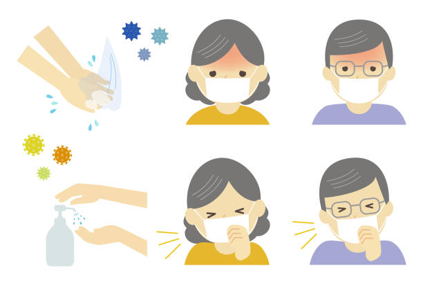 infectious disease and prevent infections - old man mask stock illustrations