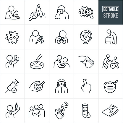 Infectious Disease Thin Line Icons - Editable Stroke