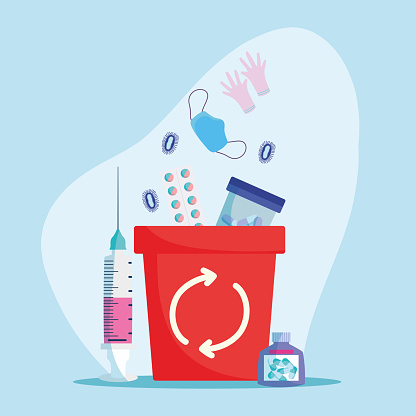 infectious waste in bin