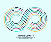 Modern clean style design of infinite growth with conceptual infinite loop sign. Vector illustration design for infographics, banners, presentations or brochures.