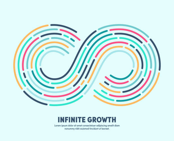 Infinite Growth With Conceptual Infinite Loop Sign Modern clean style design of infinite growth with conceptual infinite loop sign. Vector illustration design for infographics, banners, presentations or brochures. infinity stock illustrations