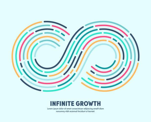 infinite growth with conceptual infinite loop sign - бесконечность stock illustrations