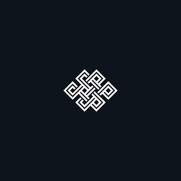 Infinite knot symbol on black Infinite knot symbol on black background eternity stock illustrations