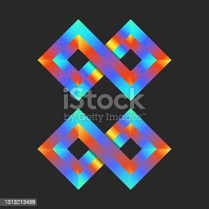 istock Infinite logo mockup colorful 3d two rhombuses geometric shape, bright gradient infinity loop tech symbol. 1313213459