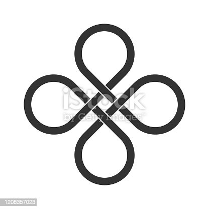 Old ornament strip. Eternity line. Interconnected circular shapes. Bowen cross symbol. Vector illustration, clip art.