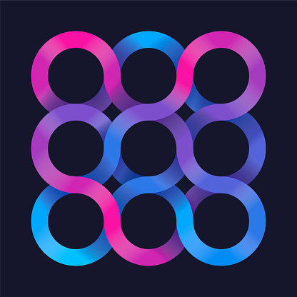 Infinite circle loops gradient abstract shape design.