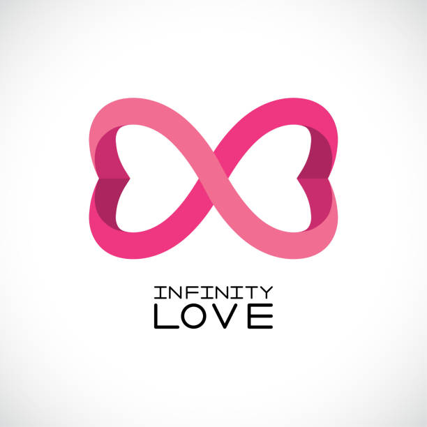 Infinite Love Symbol Endless Two Hearts Vector Art Illustration