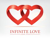 infinite ribbon intertwined hearts vector design element