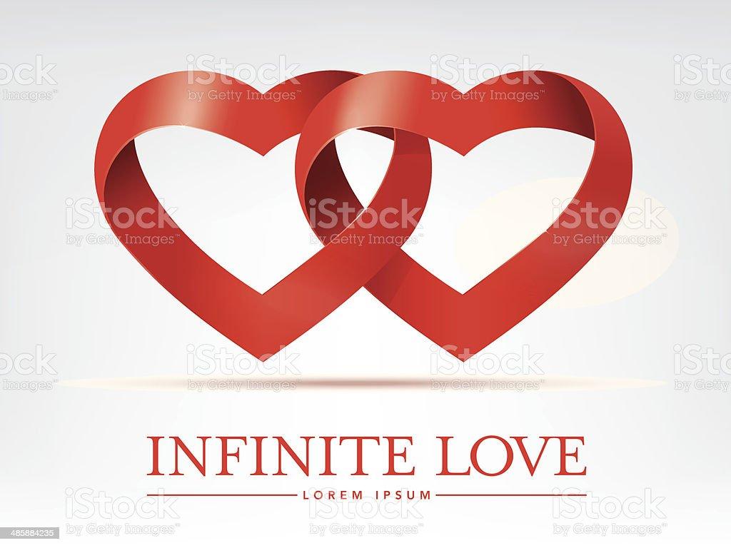 infinite ribbon intertwined hearts vector design element vector art illustration
