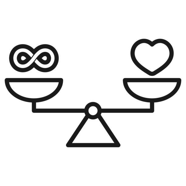 무한대, 사랑, 비늘 아이콘 벡터 - 균형 stock illustrations