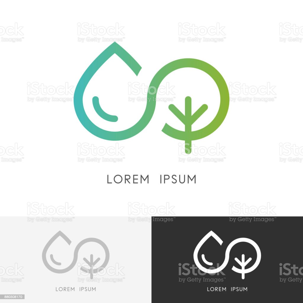 Infinity and nature - water and tree symbol vector art illustration