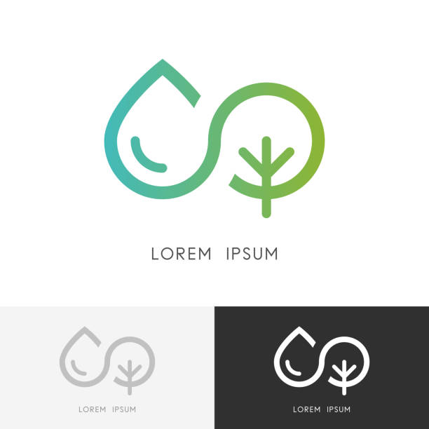 Infinity and nature - water and tree symbol Infinity and nature  - a drop of water and tree or plant symbol. Ecology, environment and agriculture vector icon. eternity stock illustrations