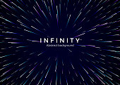 Infinity and space. Abstract background travel through time and space. Futuristic neon poster. Trendy music banner template. Vector