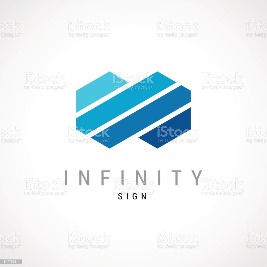 Infinity flat concept double hex  template. vector art illustration