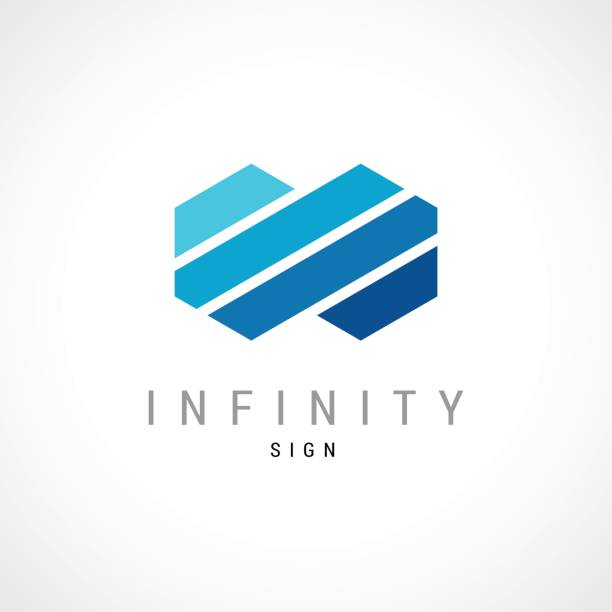 infinity flat concept double hex  template. - blue symbols stock illustrations