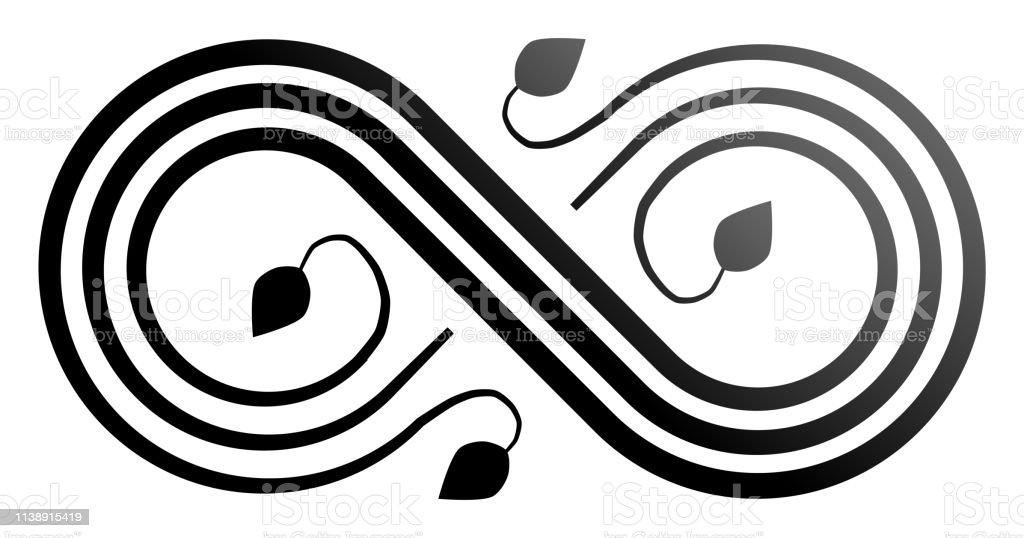 Infinity flourish symbol icon - black gradient, isolated - vector...