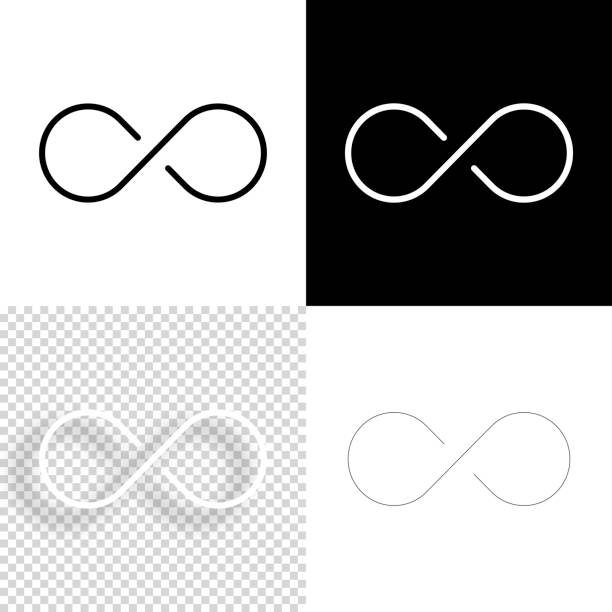 Infinity. Icon for design. Blank, white and black backgrounds - Line icon vector art illustration