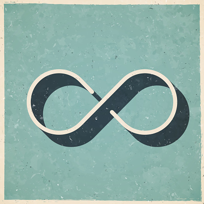Infinity. Icon in retro vintage style - Old textured paper