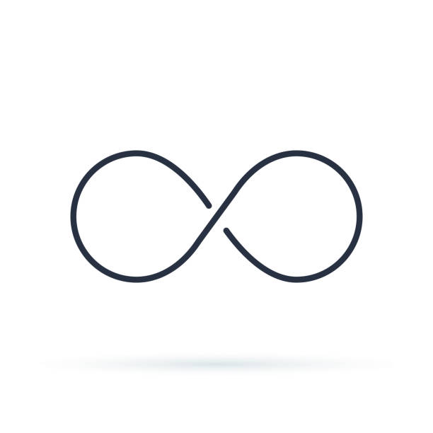 Infinity icon logo. Unlimited vector illustration, limitless symbol. Black contour of eight, thickness Infinity icon logo. Unlimited vector illustration, limitless symbol. Black contour of eight, thickness and style isolated on white. Symbol of repetition and unlimited cyclicity. infinity stock illustrations