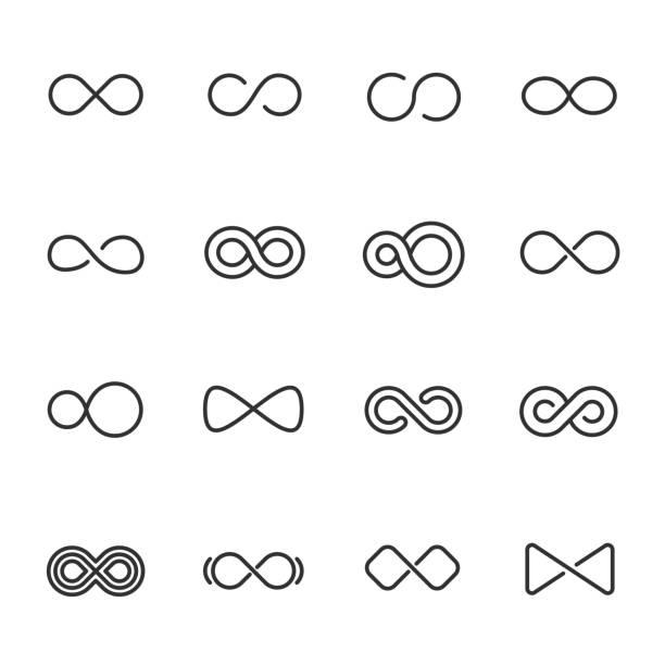 무한대, 아이콘 설정 다른 모양, 선형 아이콘입니다. 편집 가능한 획 선 - 상징 stock illustrations