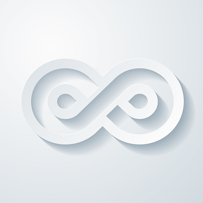 Infinity. Icon with paper cut effect on blank background
