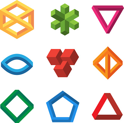 Infinity illusions geometry. Impossible 3d shapes triangles loop hexagons escher vector collection