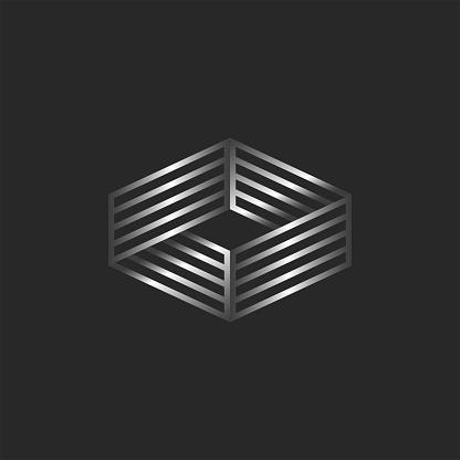 Infinity logo 3d isometric shape, boxing ring logotype, linear form illusion.