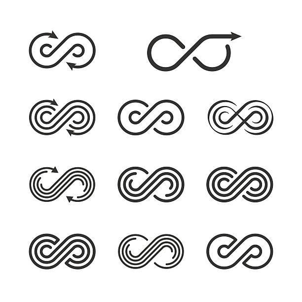 illustrazioni stock, clip art, cartoni animati e icone di tendenza di infinity logo template set. infinite symbol icon collection. vec - infinito