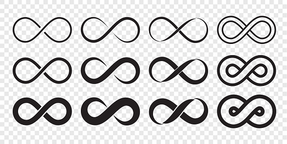 Infinity loop logo icon. Vector unlimited infinity, endless line shape sign
