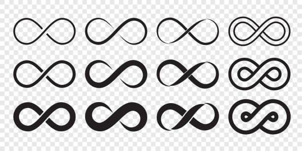 인피니티 루프 로고 아이콘입니다. 벡터 무제한 무한대, 끝 없는 라인 모양 기호 - 상징 stock illustrations