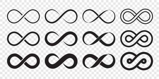 infinity loop logo icon. vector unlimited infinity, endless line shape sign - бесконечность stock illustrations