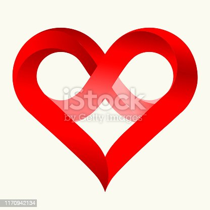 istock Infinity love heart in flat style with shadows. Isolated on white. 1170942134