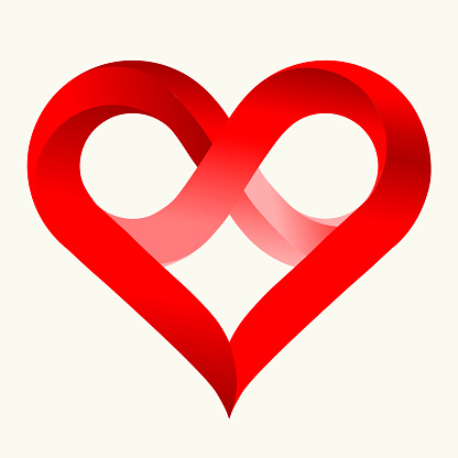 Download Infinity Love Heart In Flat Style With Shadows Isolated On ...