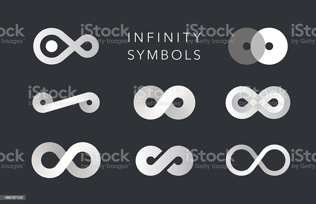 infinity monochrome symbols vector set