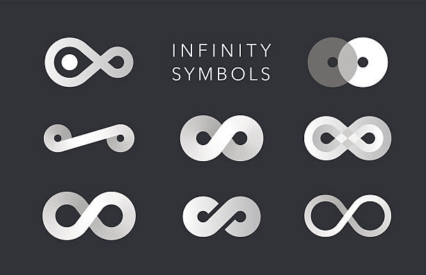infinity monochrome symbols vector set infinity monochrome symbols vector set on black himbeeren stock illustrations