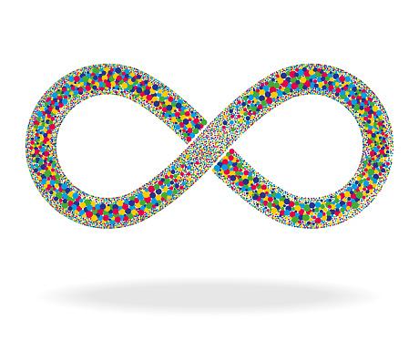 Infinity Multicoloured Dot Symbol