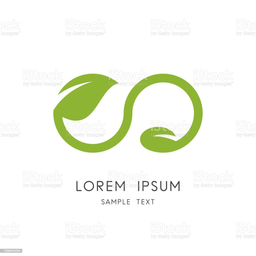 Infinity nature - leaf and seed symbol vector art illustration
