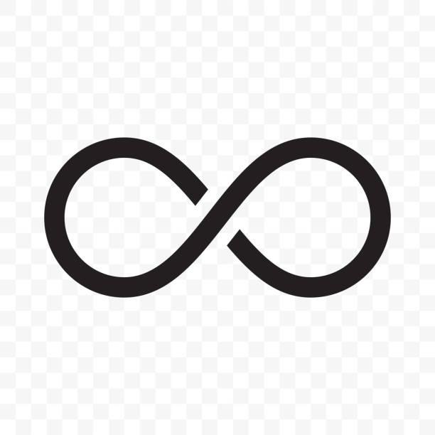무한 또는 무한 루프 벡터 라인 아이콘 - 상징 stock illustrations