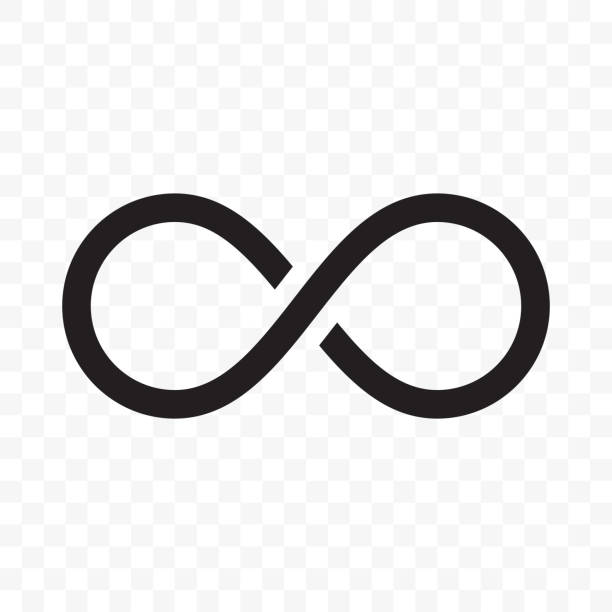 Infinity or infinite loop vector line icon Infinity logo or infinite loop vector line icon isolated on white background eternity stock illustrations
